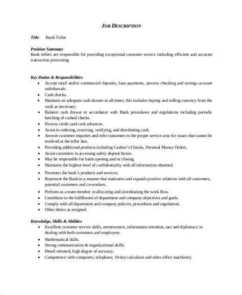 Teller Resume by Bank Teller Resume Template 5 Free Word Excel Pdf