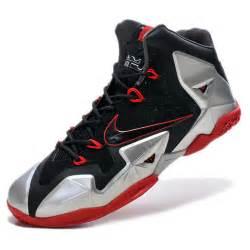 Nike air max lebron james xi silver red basketball shoes