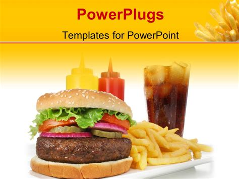 Powerpoint Template A Burger With A Lot Of Fries 4309 Fast Food Powerpoint Template