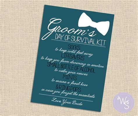 groom s day of survival kit card quot blue heaven