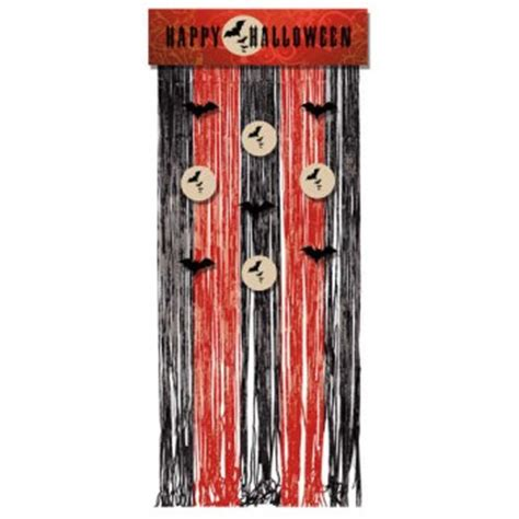 halloween door curtain frightful night door curtain w fringe halloween decorations