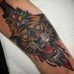 tiger with sword and arrows kysa ink tiger tattoo