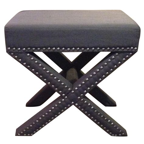 x bench stool grey x bench with nailhead trim gray ottoman stool chairish