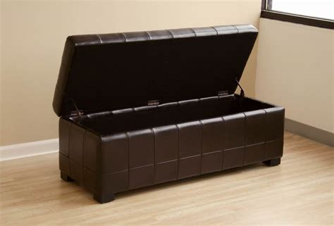 Real Leather Storage Ottoman Brown Modern Classic Leather Tufted Dimpled Leather