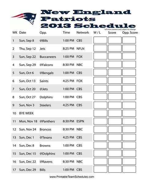 printable schedule for new england patriots new england patriots 2013 schedule game day
