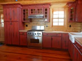 Red Kitchen Cabinets by Rustic Red Kitchen Cabinets Barebones Ely