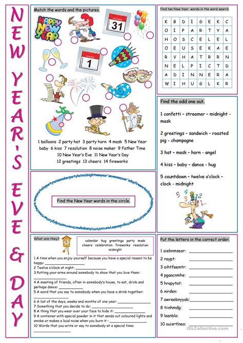 new year lesson plans esl new year s day vocabulary exercises worksheet free