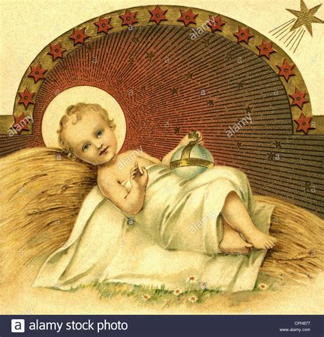 Christmas The Nativity The Infant Jesus Lying On Straw Baby Jesus In The Crib