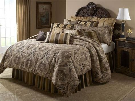 Brown And Gold Comforter by Aico Furniture Lucerne Gold Brown Paisley 12 Pc