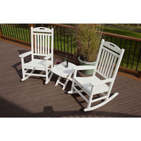 trex outdoor furniture yacht club classic white 3 piece