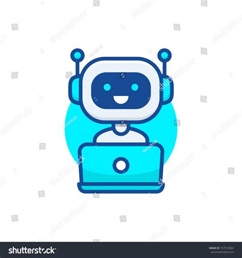 design icon cute chatbot icon cute robot working behind stock vector