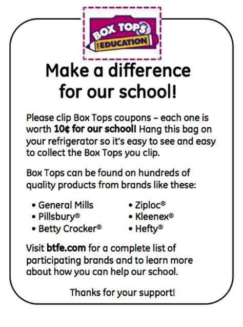 Parent Letter Box Tops use these inserts in baggies to promote your box tops for education program box tops and
