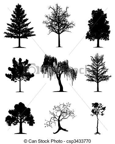 vector clipart van bomen verzameling verzameling van
