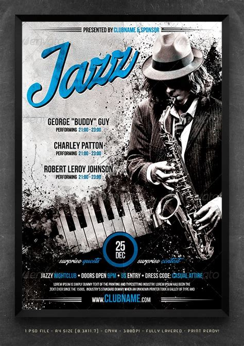 templates for gig posters jazz flyer poster template festivals jazz and design