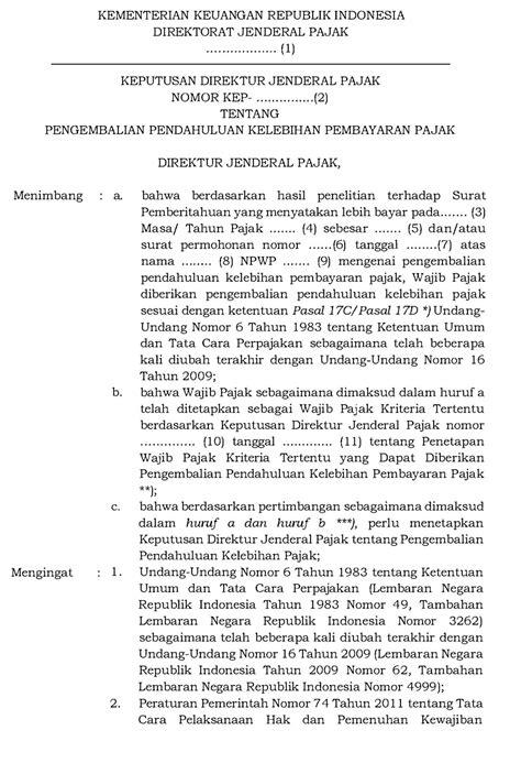 Contoh Surat Permohonan Pengembalian Pajak Lebih Bayar
