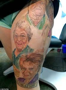 coronation street fan s husband inks characters faces on