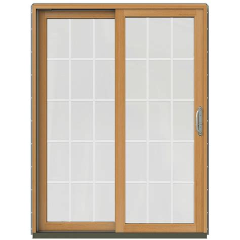 Wood Sliding Patio Door Jeld Wen 59 1 4 In X 79 1 2 In W 2500 Arctic Silver Prehung Left Clad Wood Sliding Patio