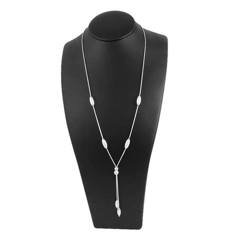 Beaded Drop Necklace sterling silver drop necklace with polished and satin
