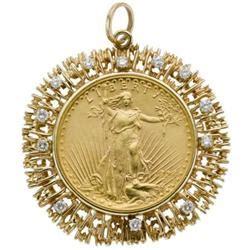 gold coin gold pendant