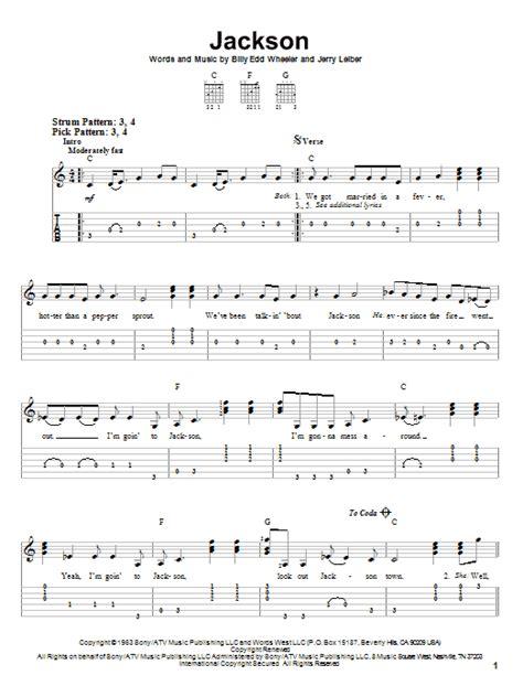 guitar tutorial johnny cash jackson sheet music by johnny cash june carter easy