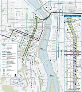 transit map of portland city center travels w