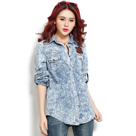 Blouse Denimatasan Denim Import Fashion Wanita 2013 new arrival fashion classical water wash slim light blue denim shirt vintage blouse