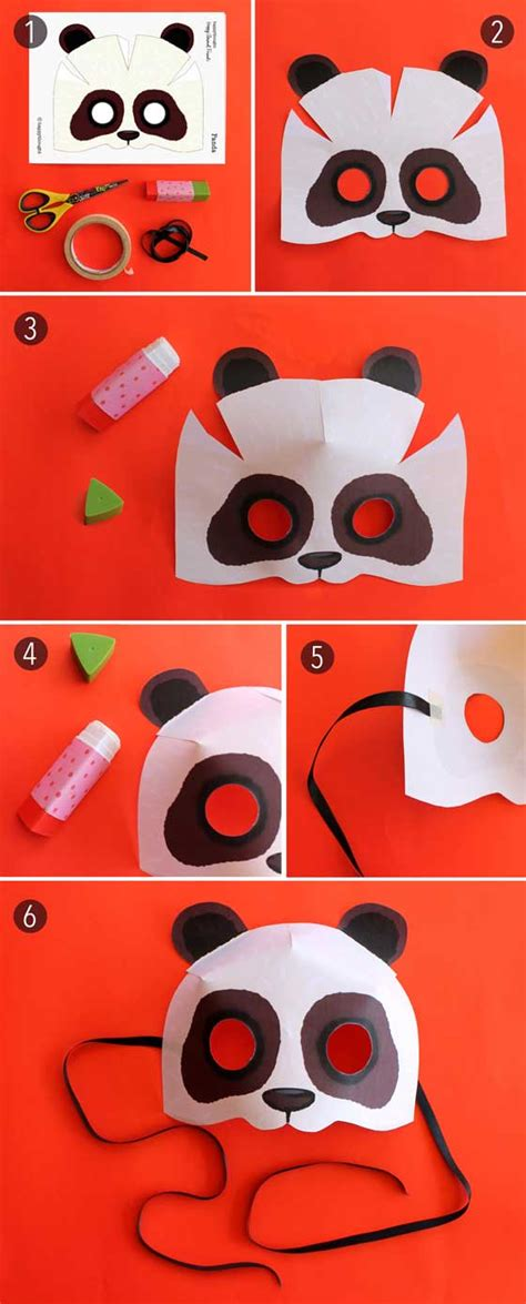 How To Make Paper Mask Step By Step - print paper panda mask animal mask diy costume