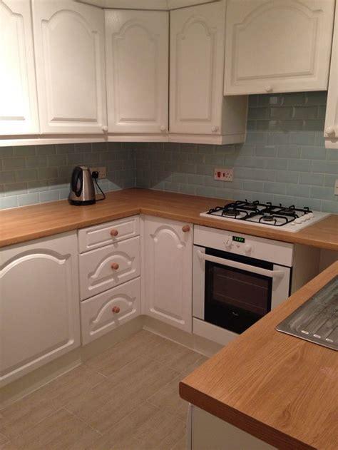 duck egg blue kitchen cabinets duck egg blue metro tiles oak worktop white cabinets