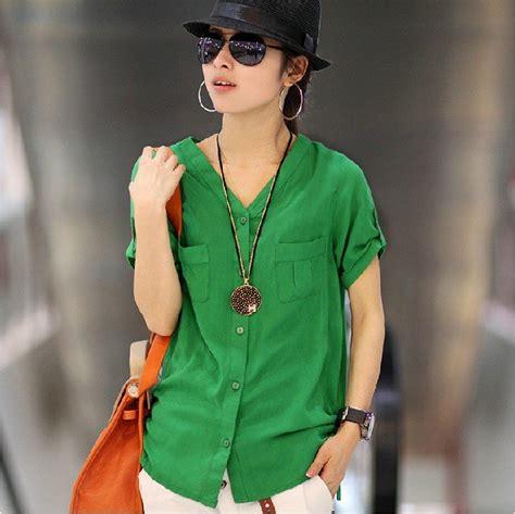 Blouse Batik Isna Green White T 2012 new quality fashion cotton sleeve v