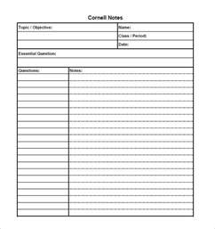 Cornell Note Template by Cornell Notes Template 51 Free Word Pdf Format
