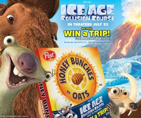 Www Ice Com Sweepstakes - mommy s favorite things ice age collision course honey bunches of oats giveaway