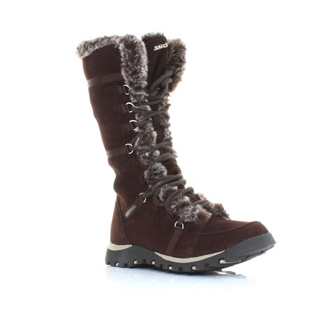 womens skechers grand jams unlimited brown suede winter