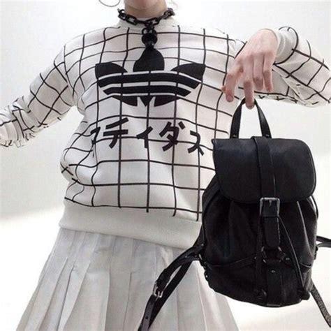 sweater grunge black white adidas adidas sweater black backpack backpack white skirt