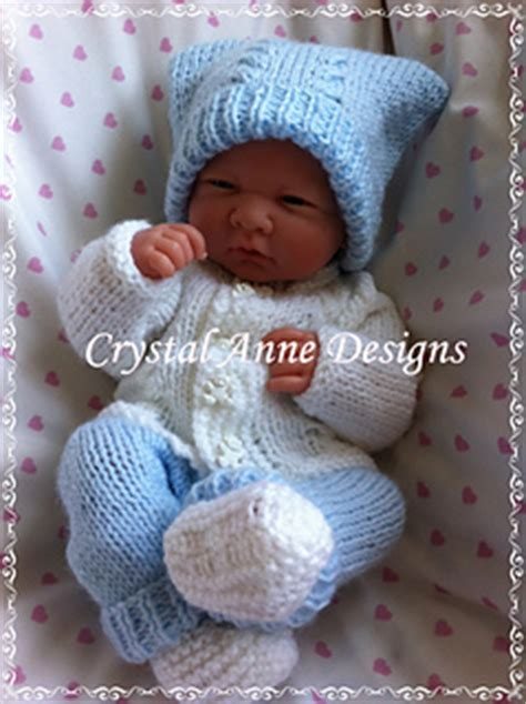 Set Cardi Rkibbon 4 set to fit a premature baby or 14 reborn hat
