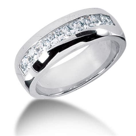 1 20 carat mens princess cut 7 mm wedding band in