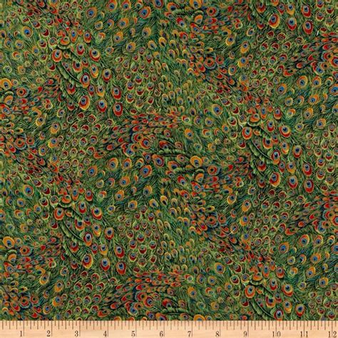 Peacock Quilt Fabric by Peacocks Peacock Feather Green Discount Designer Fabric