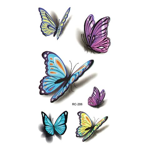colorful henna tattoos colorful butterfly 3d temporary flash