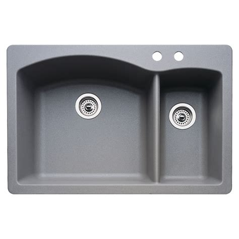 Undermount Composite Granite Kitchen Sinks Shop Blanco 22 In X 33 In Metallic Grey Basin Granite Drop In Or Undermount