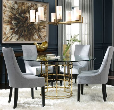 Bobs Dining Room Furniture Jules Polished Brass Glass Pedestal Table Modern Dining Room By Mitchell Gold Bob Williams