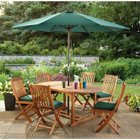 7 pc eucalyptus outdoor dining set 198057 patio