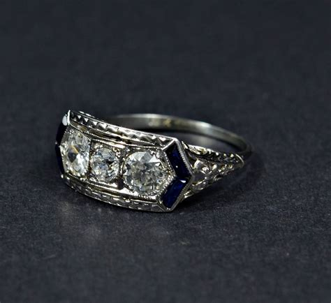 deco gold engagement rings gorgeous deco sapphire gold engagement ring at
