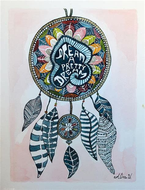 Hn110 Lukisan Lucky 8 Horses dreamcatcher watercolour painting dreamcatcher painting