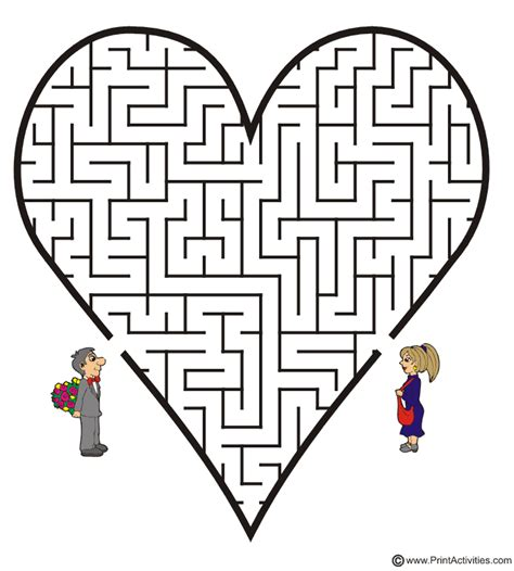 printable love maze heart shaped maze from printactivities com mazes