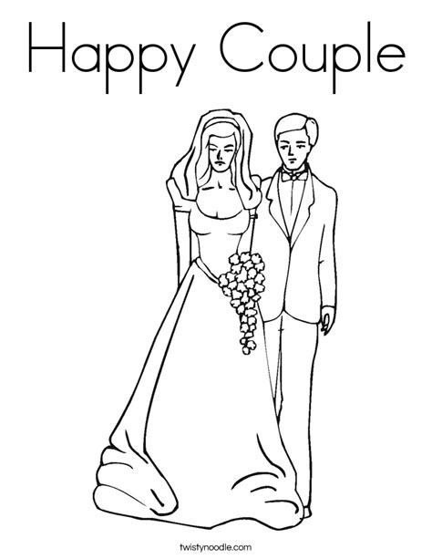 Happy Couple Coloring Page Twisty Noodle