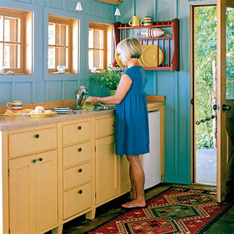 Teal And Yellow Kitchen | cottage certain ideas for a yellow kitchen afreakatheart