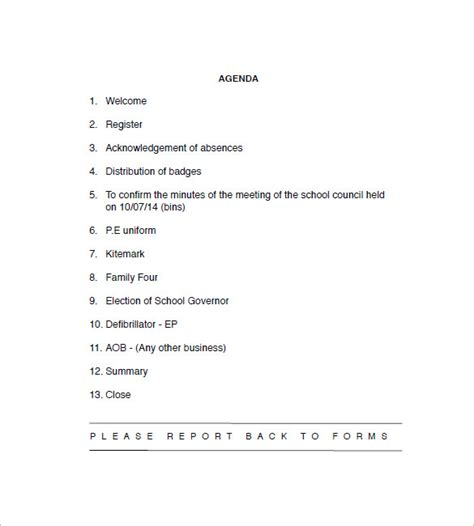 sle templates for agendas 11 meeting agenda templates academic resume template 10