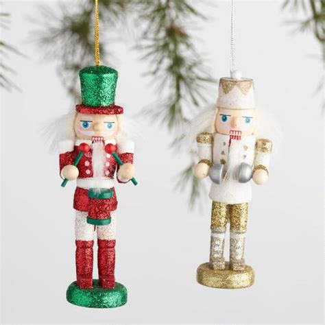 boxed ornaments sets traditional wood nutcracker boxed ornaments set of 2
