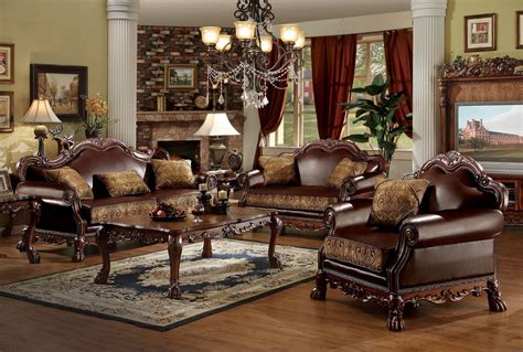 Dresden Furniture by Acme Furniture Dresden Living Set In Cherry Finish