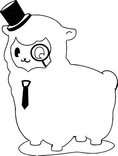 Knowledgeable Alpaca Coloring Page   Wecoloringpage