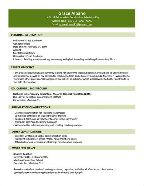 Resume Fresh Graduate Sle Resume Format For Fresh Graduates Two Page Format 1 1 Things To Wear